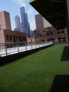 artificial green space on rooftop balcony