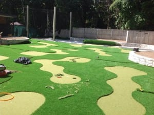 artificial turf mini golf course layout completed