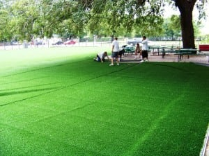 artificial grass loosely laid on ultrabasesystems panels