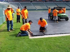 last ultrabasesystems panel connected during football field installation