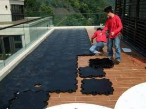 base panel system installed for Hong Kong rooftop putting green