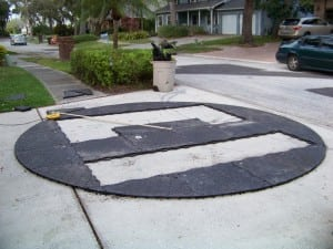 ultrabasesystems champion panel cut in circular shape for paver installation